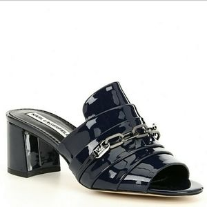 New! Karl Lagerfeld HALEY Navy Blue Patent Mules